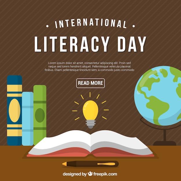 День ретро грамотности с книгами Бесплатные векторы