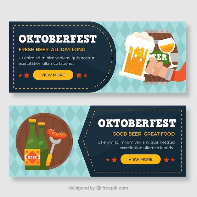 Октоберфест-баннеры с напитками и едой Бесплатные векторы