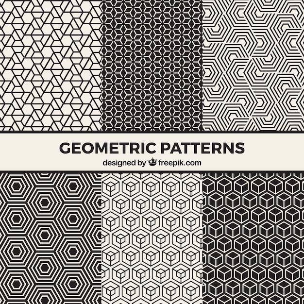 黒と白の幾何学模様のコレクション 無料ベクター