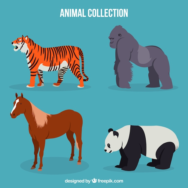 Тигр, горилла, лошадь и панда с плоским дизайном Бесплатные векторы