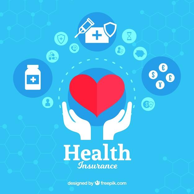 Сердце и руки со значками здоровья Бесплатные векторы