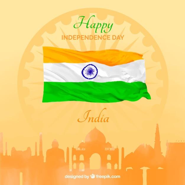 都市と水彩旗とインドの独立の背景 無料ベクター