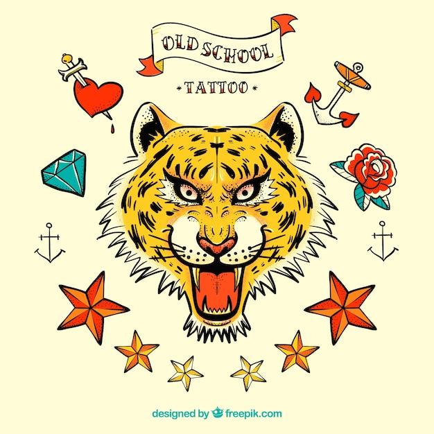 タイガータトゥーやその他の手描きのアイテム 無料ベクター