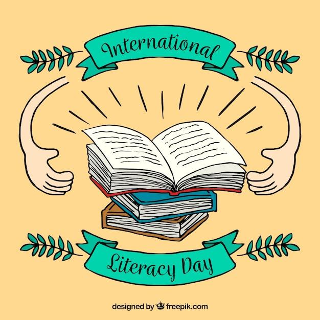 День грамотности с рисунками Бесплатные векторы