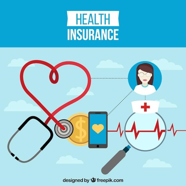 医療要素と健康保険の背景 無料ベクター
