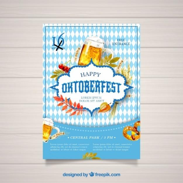 オクトーバーフェストのための水彩ポスター 無料ベクター