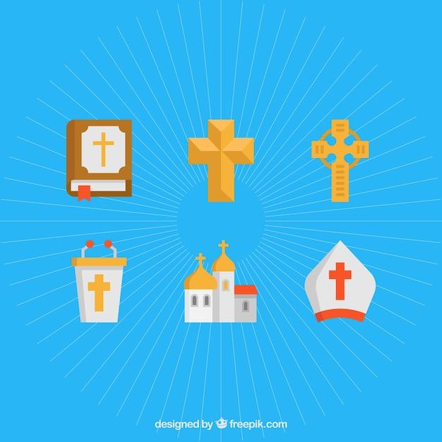 交差する。宗教的シンボルは設定してください 無料ベクター