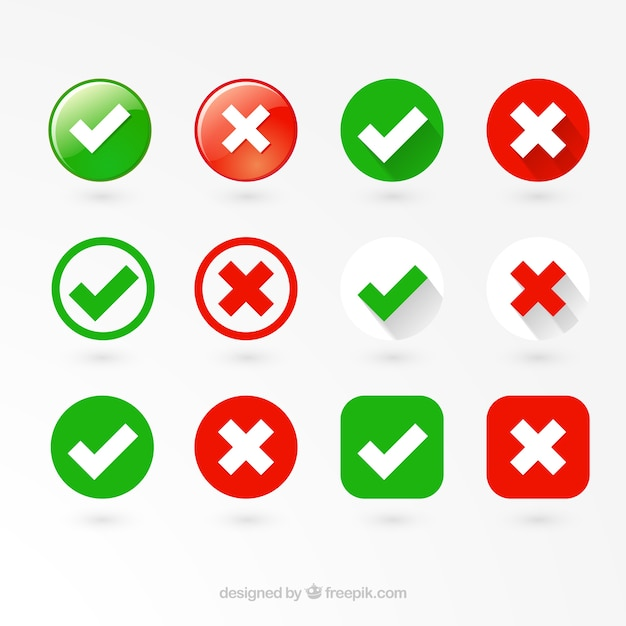 Правильные и неправильные этикетки Бесплатные векторы