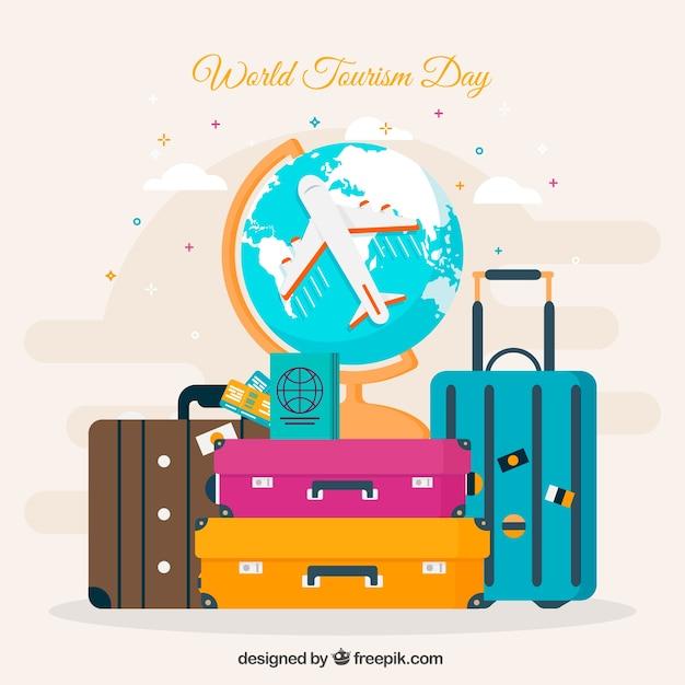 Всемирный день туризма, красочные туристические объекты Бесплатные векторы