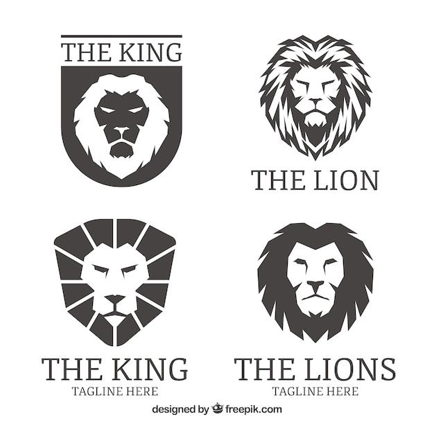 Львиные логотипы, черный цвет Бесплатные векторы