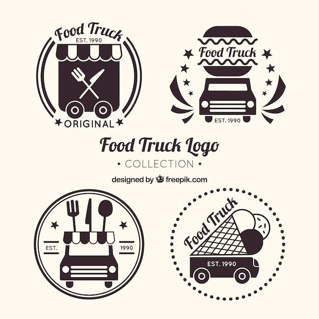 クラシックなスタイルの食品トラックロゴコレクション 無料ベクター
