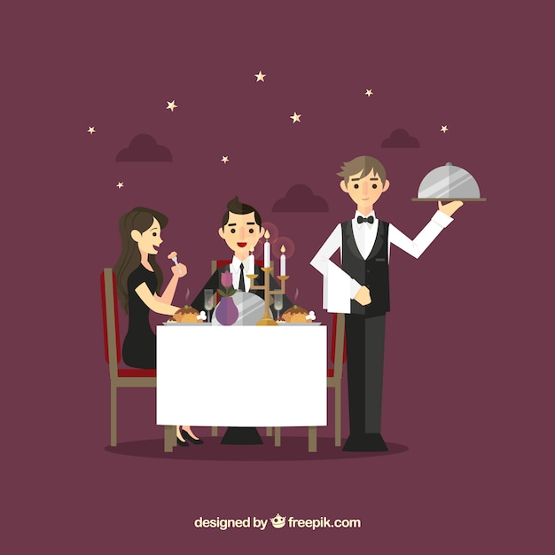 ロマンチックな夕食のカップルとウェイター 無料ベクター