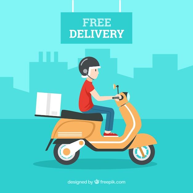 Поставка с картонной коробкой и вождением скутера Бесплатные векторы