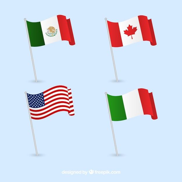 Канада, мексика, италия и соединенные штаты флаги Бесплатные векторы