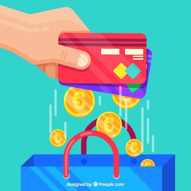クレジットカード、コイン、ショッパーバッグ 無料ベクター