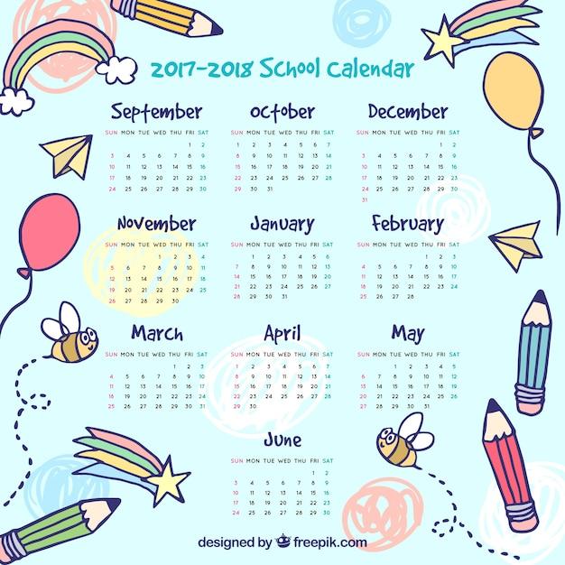 素敵な絵の学校のカレンダー 無料ベクター