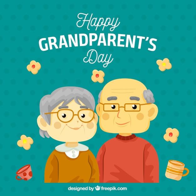 祖父母、カップル、ガラス、背景 無料ベクター
