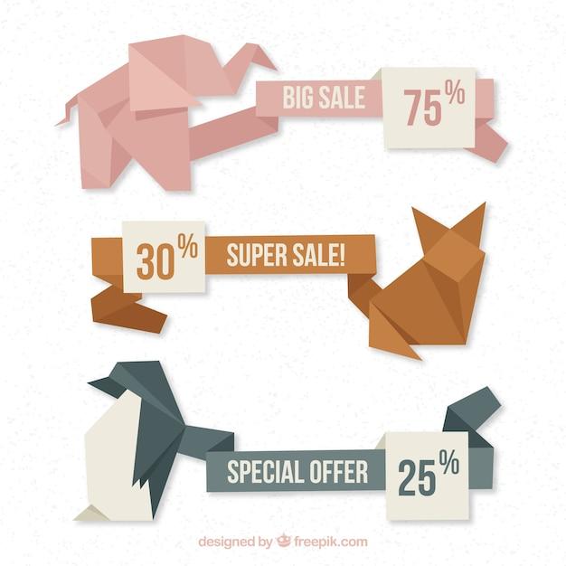 折り紙の動物のデザインと販売のバナー 無料ベクター