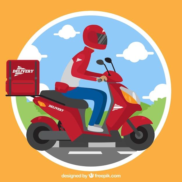 ヘルメットとスクーターを備えたフラットデリバリーマン 無料ベクター