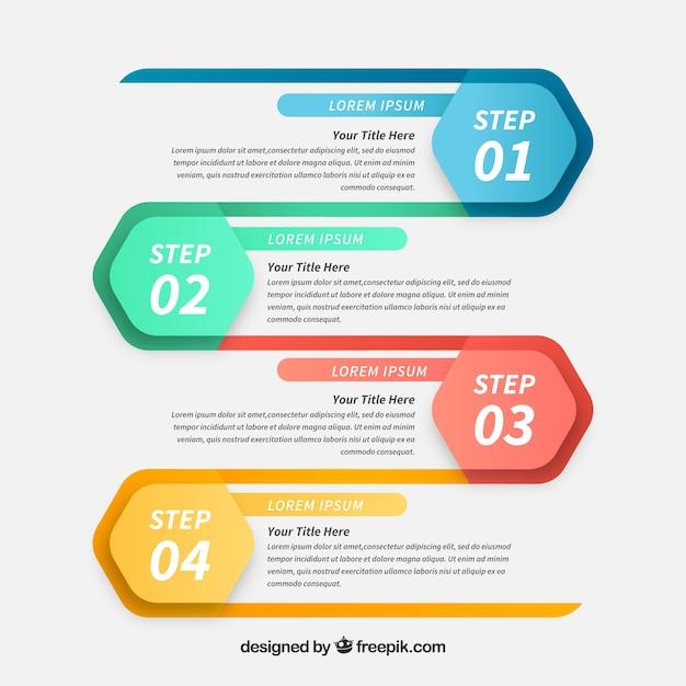 Профессиональные инфографические шаги с абстрактным стилем Бесплатные векторы
