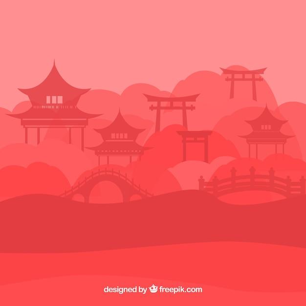 パゴダと中国の風景のシルエット 無料ベクター