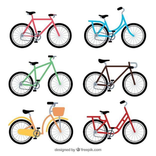 フラットデザインのカラフルなバイクのコレクション 無料ベクター