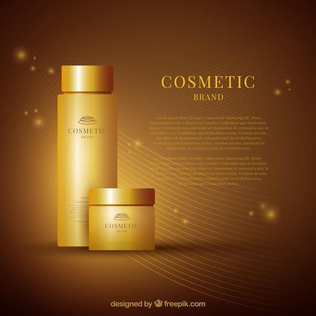 化粧品の黄金の背景 無料ベクター