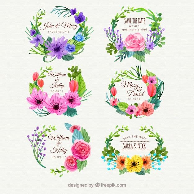 Прекрасные этикетки с акварельным цветочным стилем Бесплатные векторы