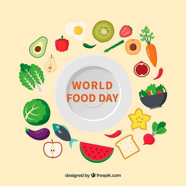 世界の食べ物の日の背景 無料ベクター