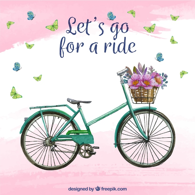 自転車と花の水彩画の背景 無料ベクター