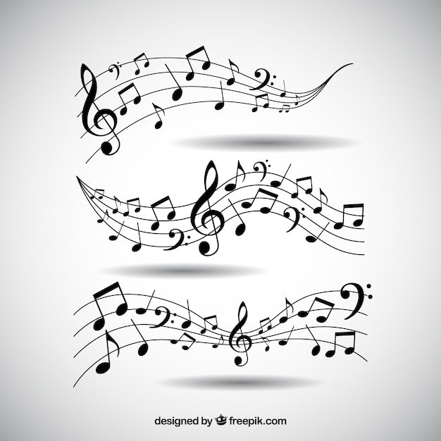 Пакет пентаграмм и музыкальных нот Бесплатные векторы