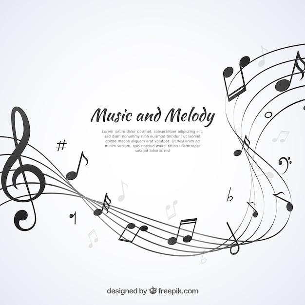 楽譜を持つ抽象的な五芒星の背景 無料ベクター