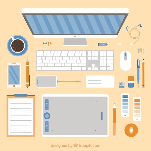 Рабочее пространство графического дизайнера Бесплатные векторы