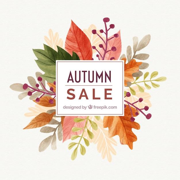 水彩の秋の販売の背景 無料ベクター
