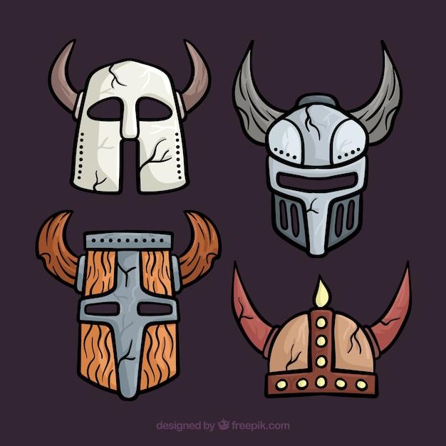 Пакет ручных бронебойных шлемов Бесплатные векторы