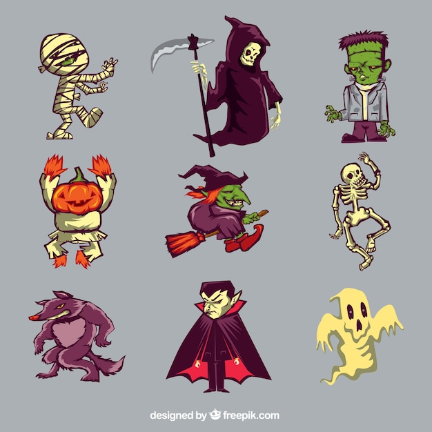 Коллекция из девяти символов хэллоуина Бесплатные векторы