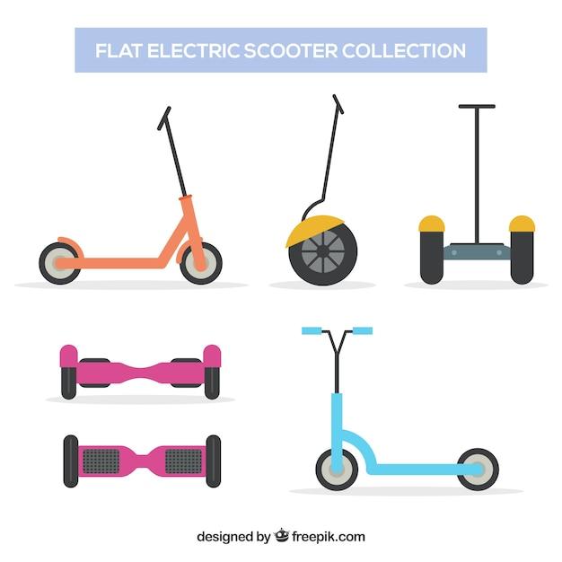 フラットデザインの電動スクーターの様々な 無料ベクター