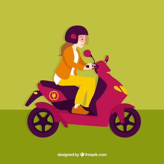 電動スクーターに乗ってヘルメットを持つ少女 無料ベクター
