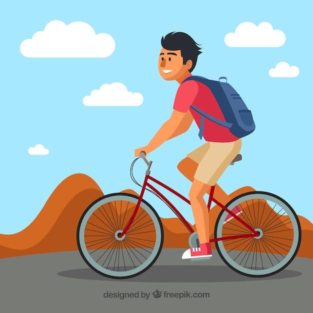 Современный фон с смайлик мужчина, езда на велосипеде Бесплатные векторы