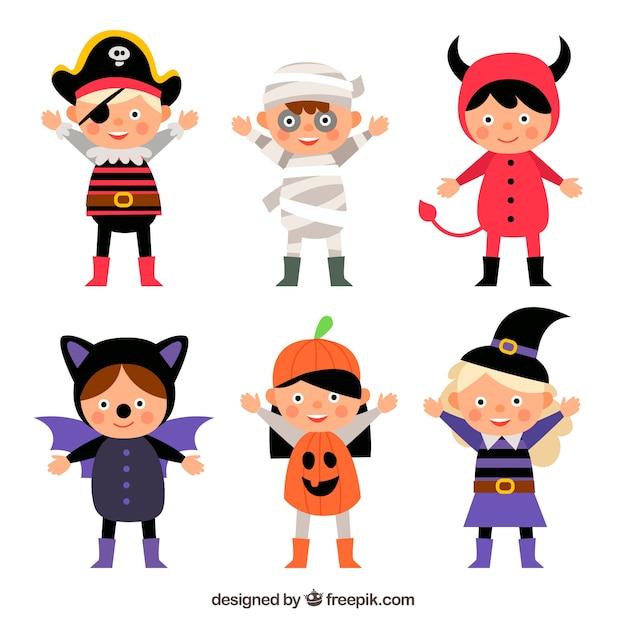 Коллекция детей с костюмами хэллоуина Бесплатные векторы