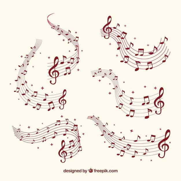 音符のあるいくつかの譜表 無料ベクター