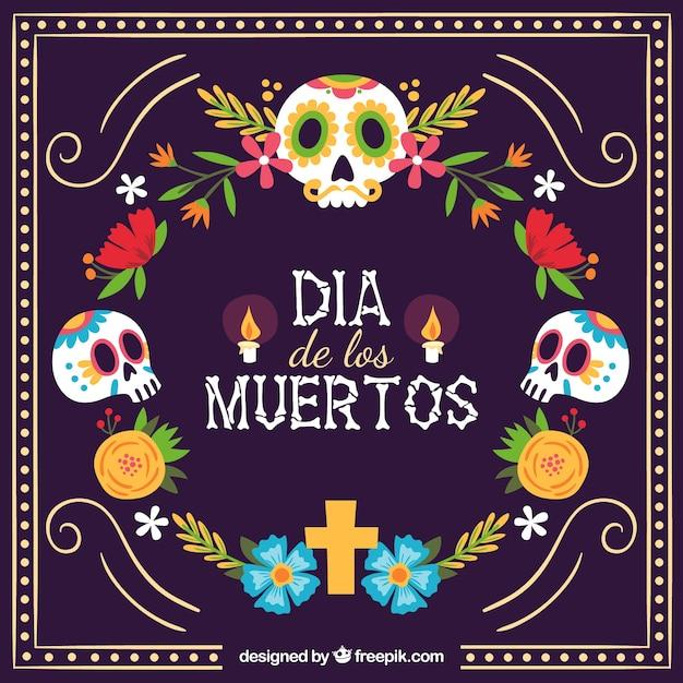 頭蓋骨とカラフルなメキシコの背景 無料ベクター
