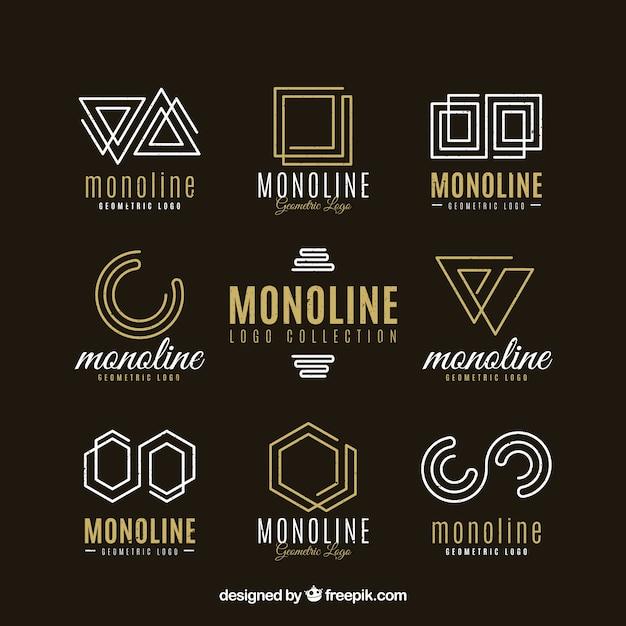 Темный монолиновый логотип Бесплатные векторы