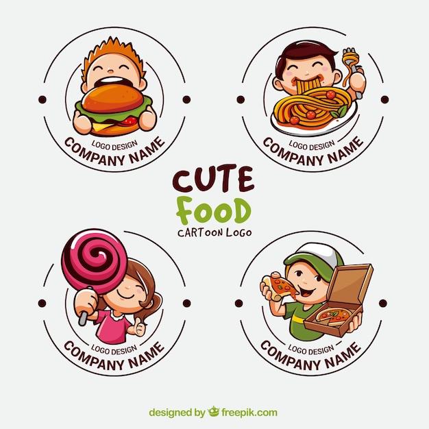 食品産業のためのかわいいロゴのコレクション 無料ベクター