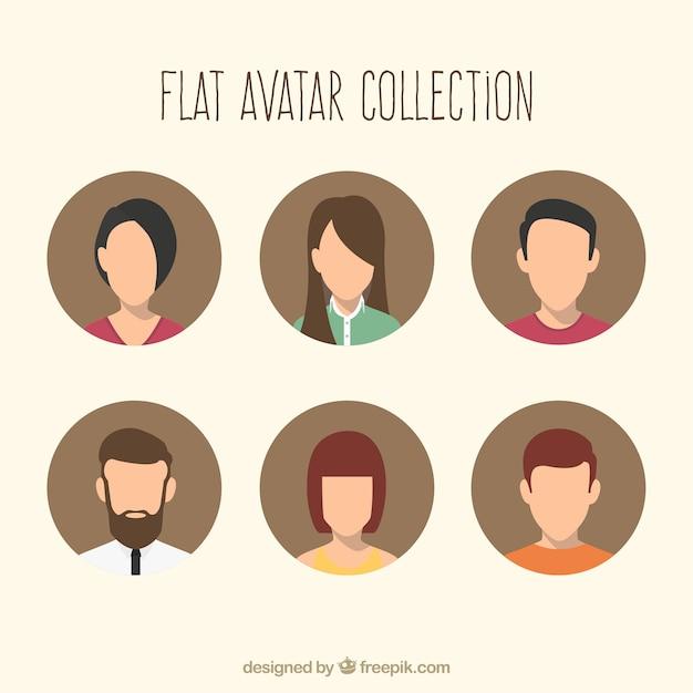 Плоские аватары с современным стилем Бесплатные векторы
