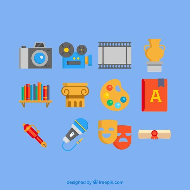 Красочные иконки культура в плоском исполнении Бесплатные векторы