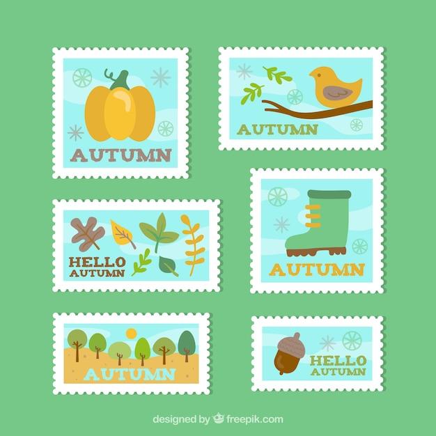 平らなデザインの秋の切手のコレクション 無料ベクター