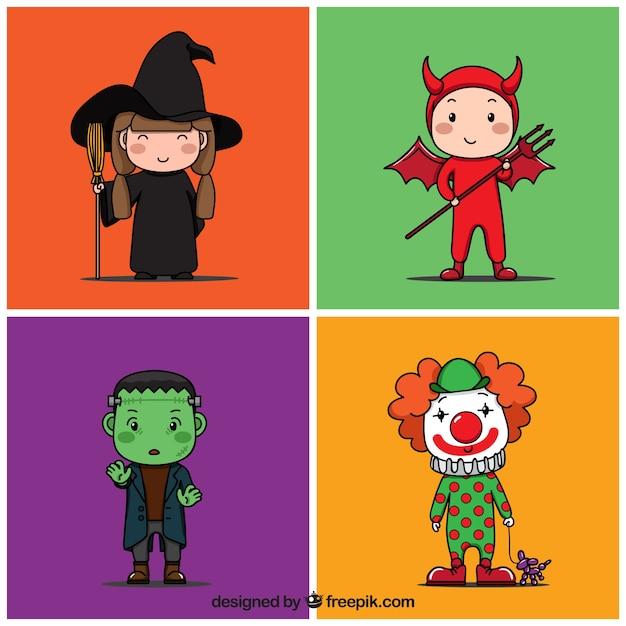 Красочные костюмы хэллоуина Бесплатные векторы