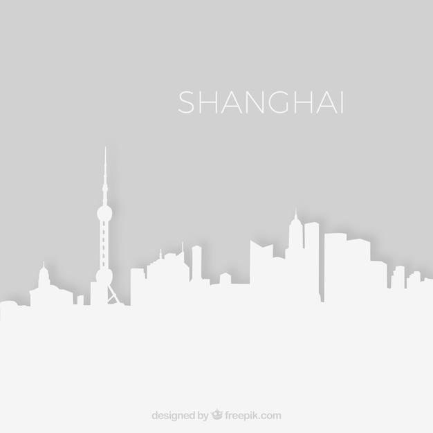 上海のスカイラインのシルエット 無料ベクター