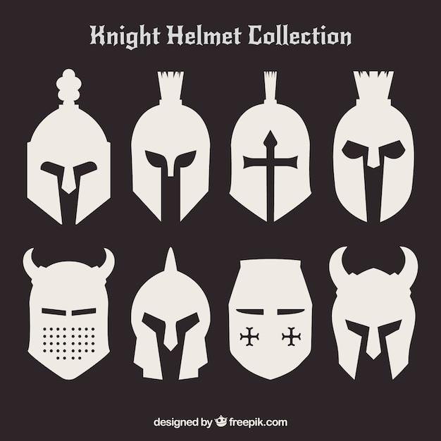 Набор силуэтов шлемов Бесплатные векторы
